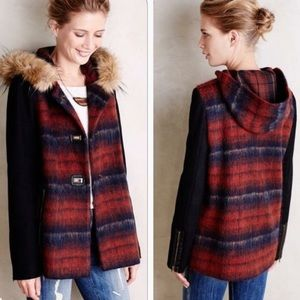 Anthropologie Elevenses Plaid Fur Hood Coat